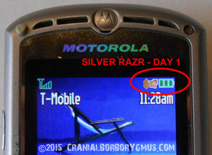 motorola br50 battery replacement test - day one battery charge level indicator results