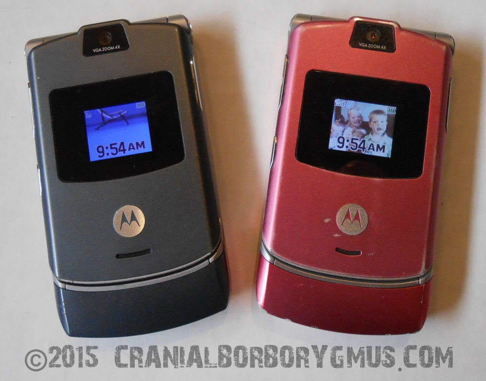 our trusty Motorola Razr flip phones